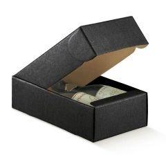 Presentlåda/flasklåda linnepräglad svart