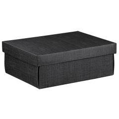 Presentkartong Easy med lock linnepräglad svart