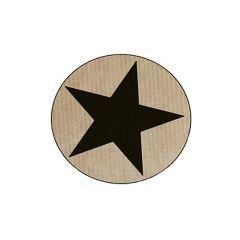 Etikett rund stjärna matt svart/natur ribbad