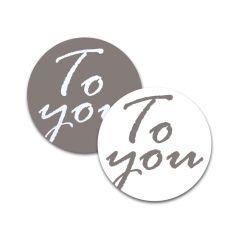 Etikett rund To you grå/vit