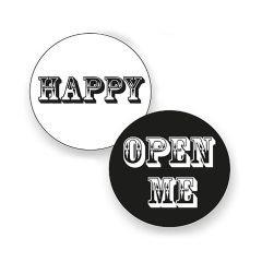 Etikett rund sv/vi blank Open me/happy