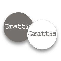 Etiket rund vit/grå matt Grattis