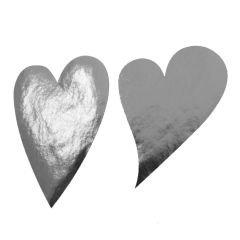 Etikett hjärta sneda silver